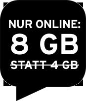 Nur online: 8 GB