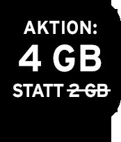 Aktion: 4 GB statt 2 GB Datenvolumen
