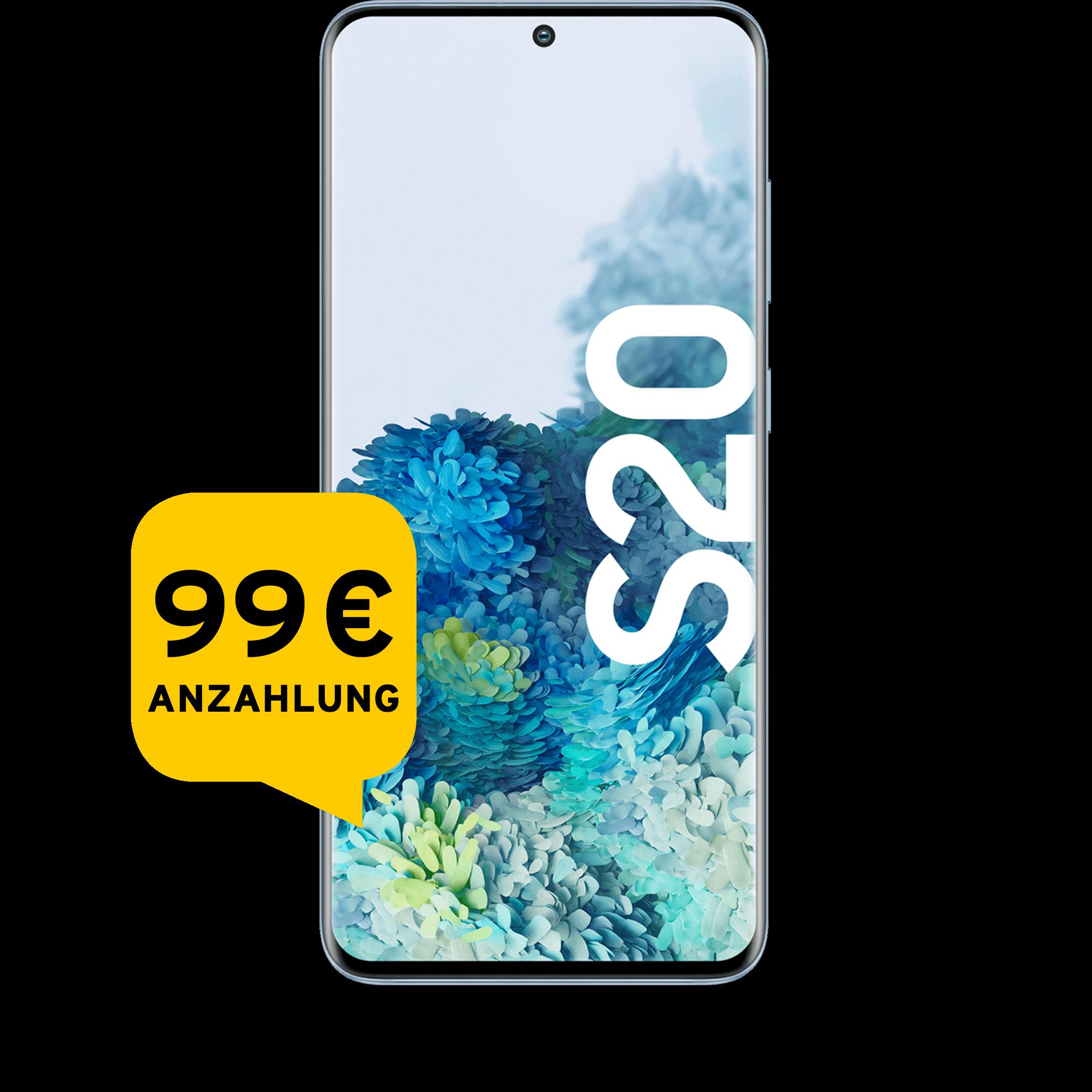 Günstig Kaufen beim Preisvergleich-Samsung Galaxy S20 128 GB light blue Aktion mit Allnet Flat Plus