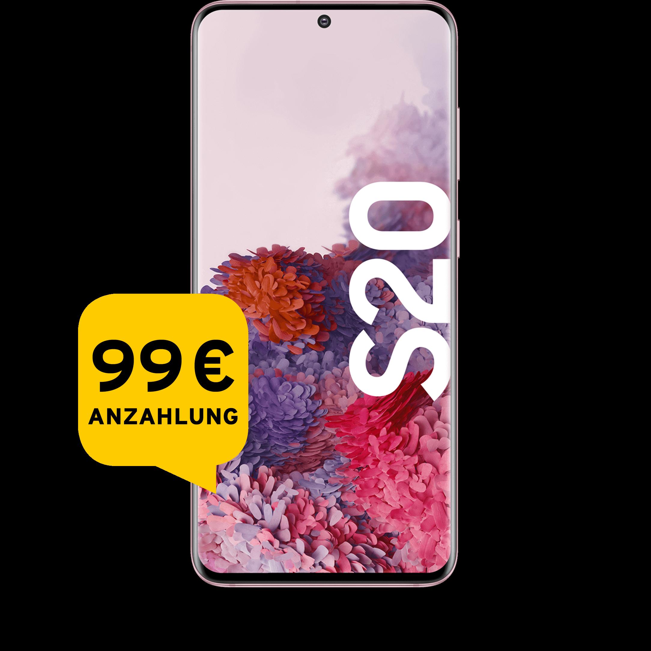 Günstig Kaufen beim Preisvergleich-Samsung Galaxy S20 128 GB pink Aktion mit Allnet Flat Plus