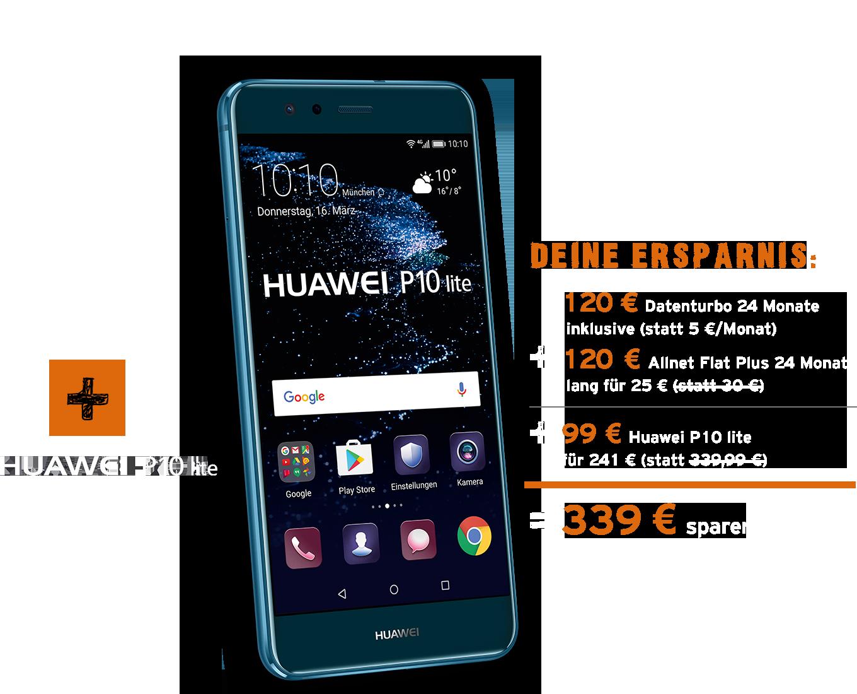 Allnet Flat Plus mit Huawei P10 lite bestellen und Ersparnis sichern!